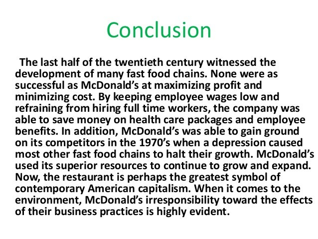 mcdonalds research Addressing changing food values through market research this case study focuses on the affect of society's changing food values on the quick serv.