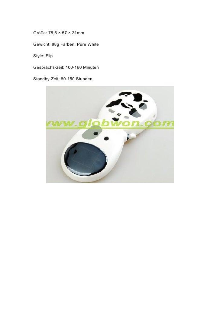 Größe: 78,5 × 57 × 21mm  Gewicht: 88g Farben: Pure White  Style: Flip  Gesprächs-zeit: 100-160 Minuten  Standby-Zeit: 80-1...