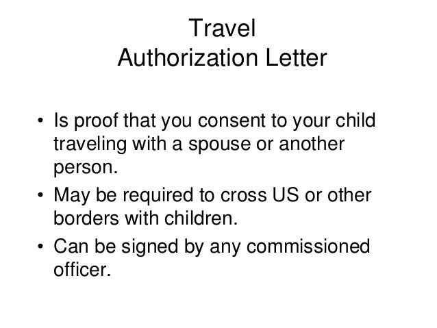 Authorization Letter Sample For Children To Travel