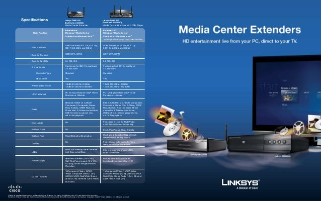 Specifications                                             Linksys DMA2100                                    Linksys DMA2...