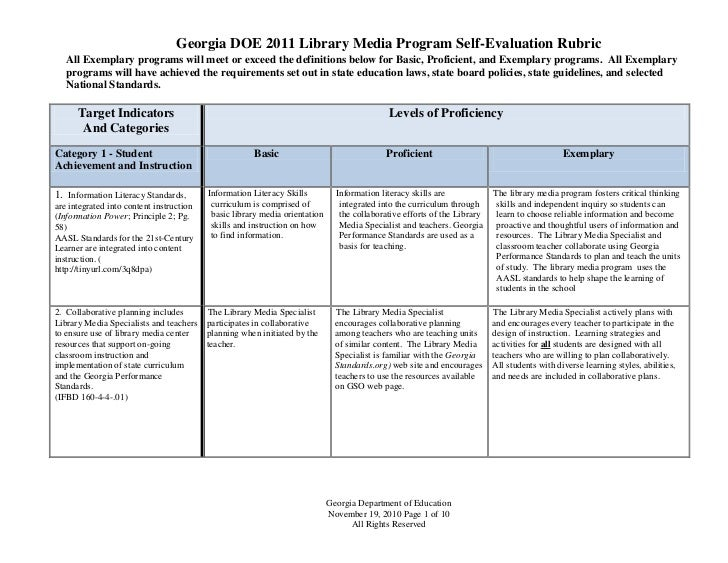 Georgia DOE 2011 Library Media Program Self-Evaluation Rubric   All Exemplary programs will meet or exceed the definitions...