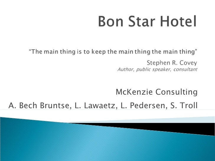 McKenzie Consulting A. Bech Bruntse, L. Lawaetz, L. Pedersen, S. Troll