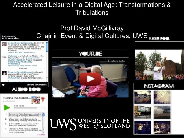 Accelerated Leisure in a Digital Age: Transformations & Tribulations Prof David McGillivray Chair in Event & Digital Cultu...