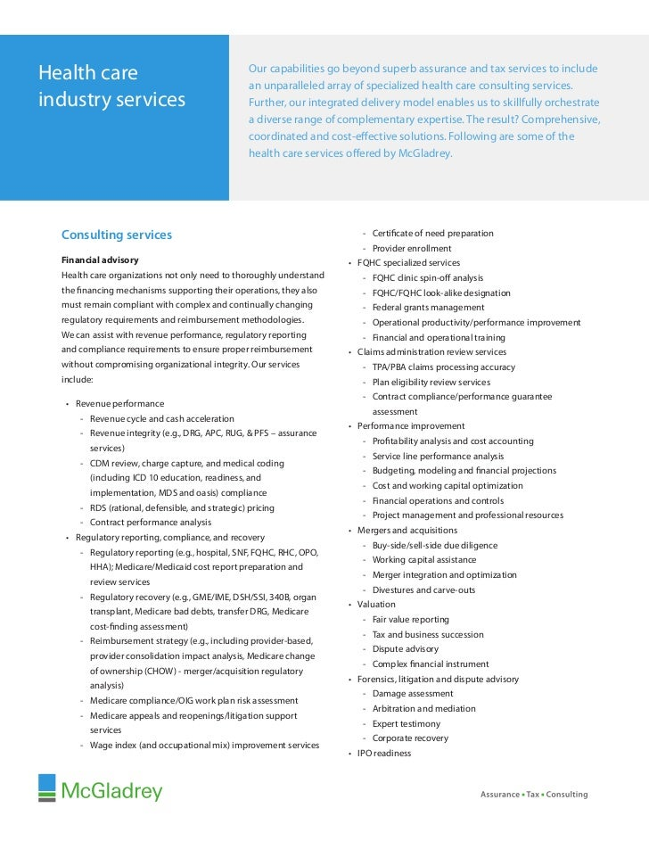 Mc Gladrey Health Care Services Overview Insert Sheet