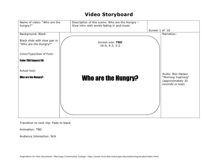 "Video StoryboardName of video: ""Who are the                  Description of this scene: Who are the Hungry –hungry?""      ..."
