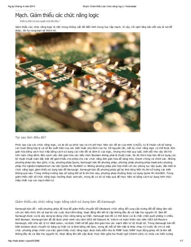 Ngày3 tháng 4 năm 2014 Mạch. Giảm thiểu các chức năng logic / Habrahabr http://habrahabr.ru/post/93296/ 1/7 Ngày 11 tháng ...