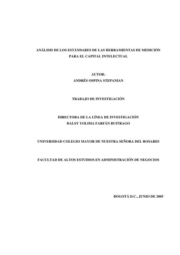 ANÁLISIS DE LOS ESTÁNDARES DE LAS HERRAMIENTAS DE MEDICIÓN                PARA EL CAPITAL INTELECTUAL                     ...