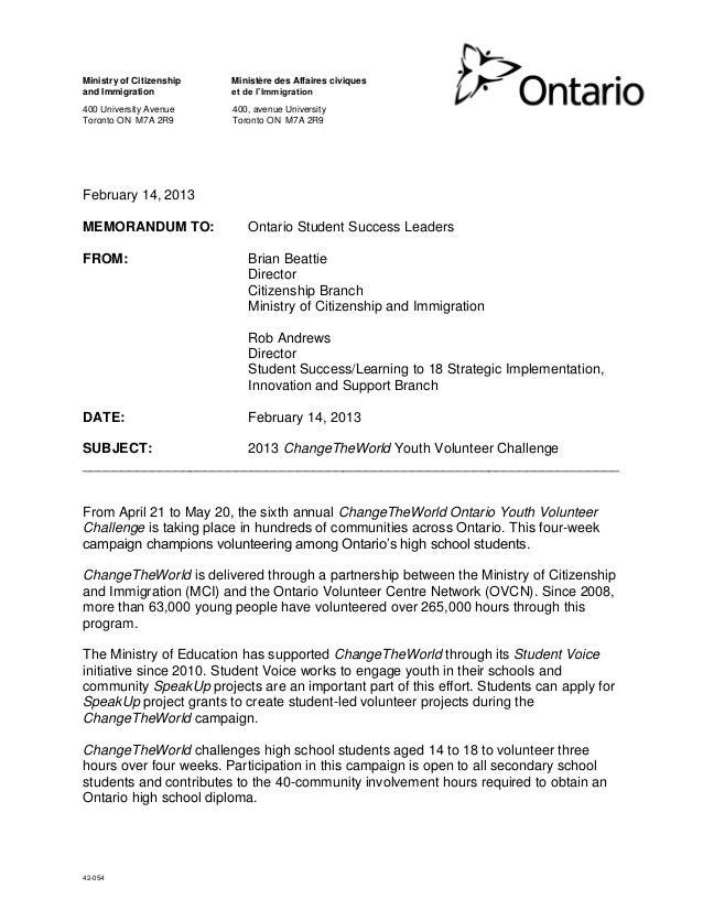 42-054 Ministry of Citizenship and Immigration 400 University Avenue Toronto ON M7A 2R9 Ministère des Affaires civiques et...