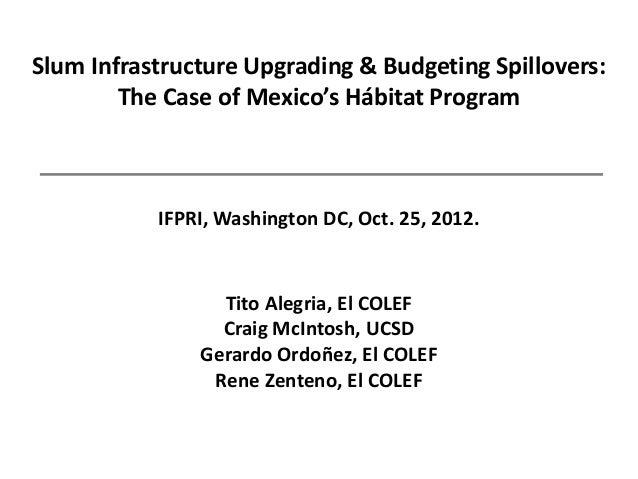Slum Infrastructure Upgrading & Budgeting Spillovers:        The Case of Mexico's Hábitat Program           IFPRI, Washing...