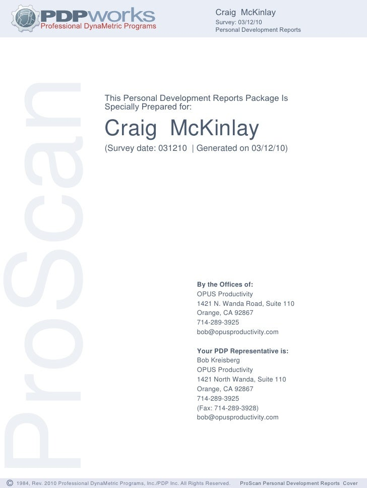 McKinlay Personal Dev Report