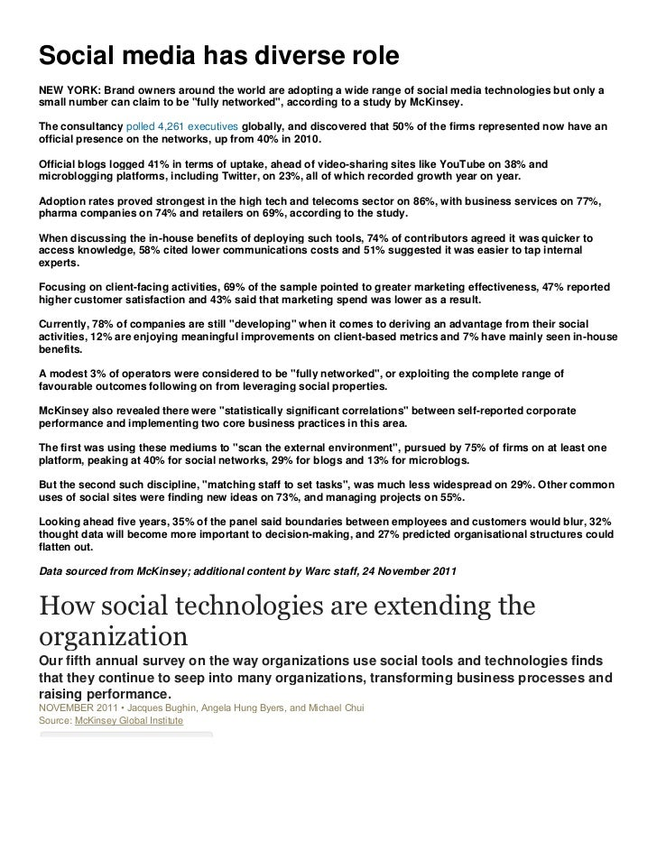McKinsey: How social technologies are extending the organization 24-11-11