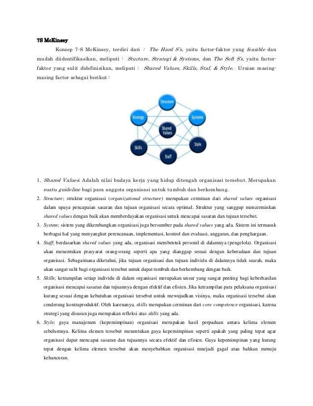 7S McKinsey Konsep 7-S McKinsey, terdiri dari : The Hard S's, yaitu factor-faktor yang feasible dan mudah diidentifikasika...