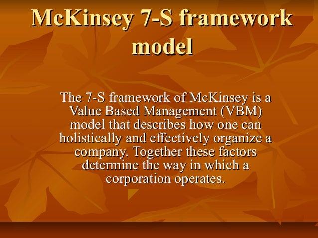 McKinsey 7-S framework        model  The 7-S framework of McKinsey is a   Value Based Management (VBM)   model that descri...