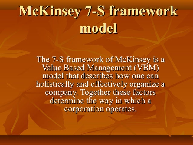 mckinsey s 7s model applied to apple Mckinsey s 7s model applied to apple are able to give the best results are, in my opinion, mckinsey 7s model and galbraith`s star modelboth models are useful because they describe very important organisational elements and recognise the interaction between them both also require organisations to use a chosen strategy to inform structure decisions.