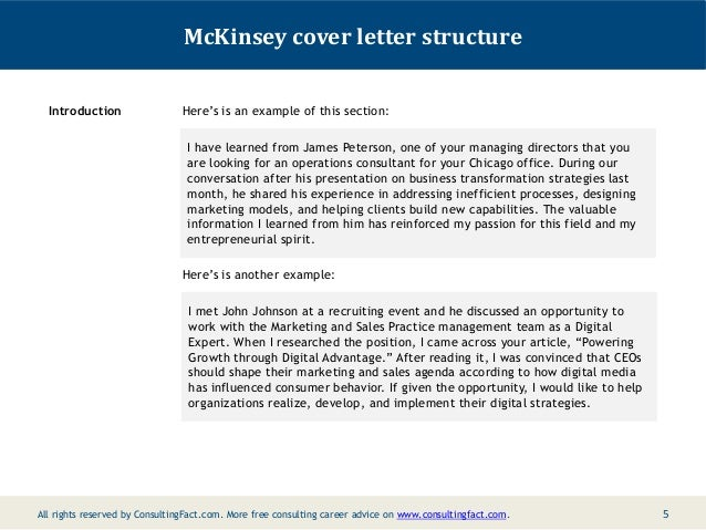 Mckinsey cover letter sample for Cover letter to consultant for job