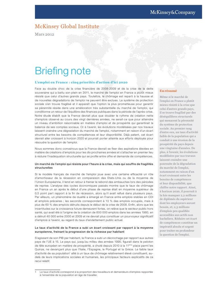 L'emploi en France : 5 priorités d'action d'ici 2020 (Mc Kinsey Global Institute - mars 2012)