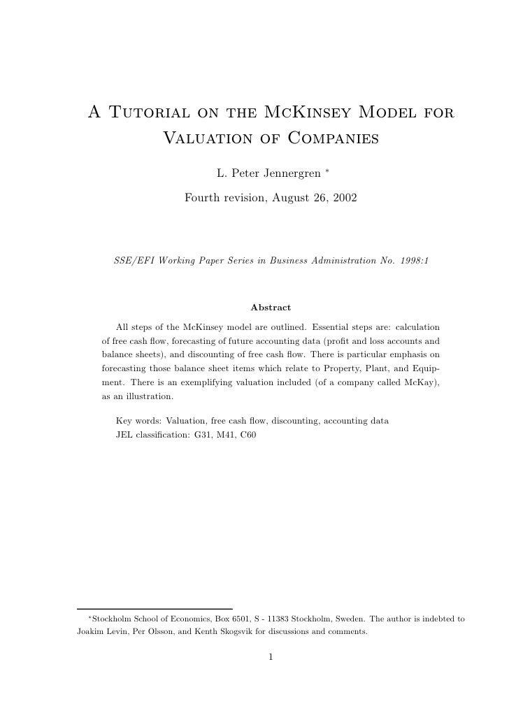 Mckinsey tutorial on valuations