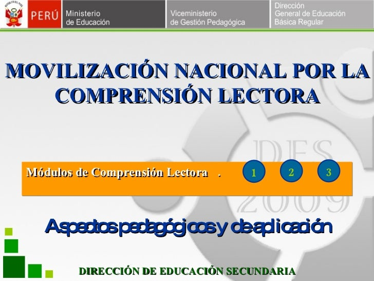 DIRECCIÓN DE EDUCACIÓN SECUNDARIA M ódulos de Comprensión Lectora  .  .  .  1 2 3 Aspectos pedagógicos y de aplicación MOV...
