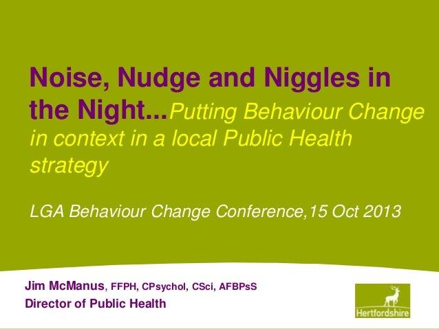 Behaviour Change as part of a public health strategy