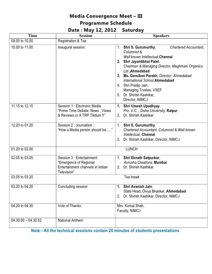 Media Convergence Meet – III                                    Programme Schedule                                Date : M...