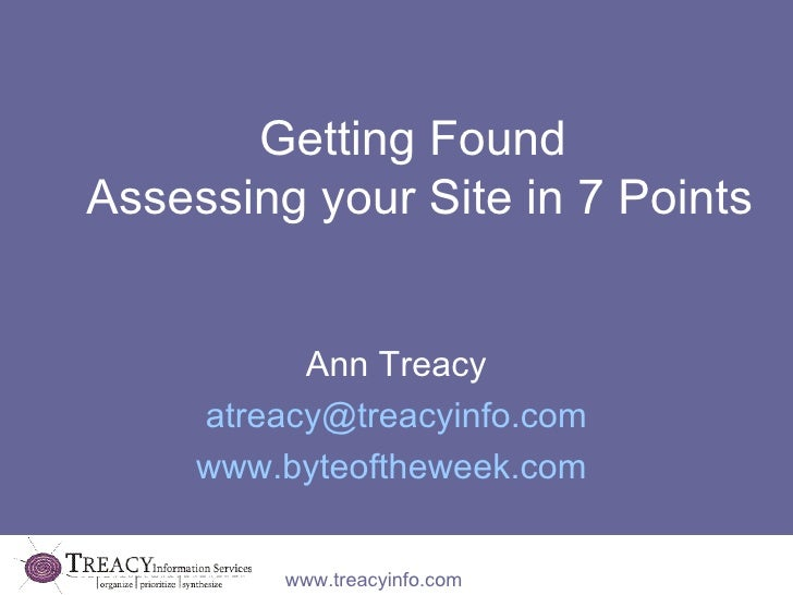 Getting Found  Assessing your Site in 7 Points Ann Treacy [email_address] www.byteoftheweek.com