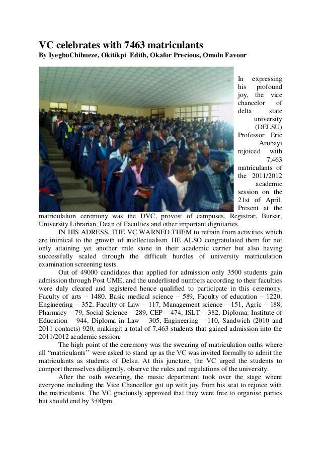 VC celebrates with 7463 matriculantsBy IyegbuChibueze, Okitikpi Edith, Okafor Precious, Omolu Favour                      ...