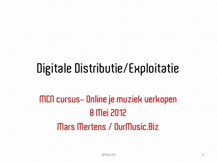 MCN cursus: online je muziek verkopen 2012 05 08