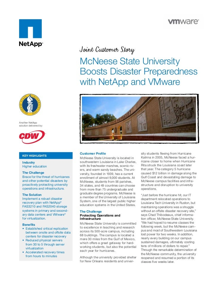 McNeese State University Boosts Disaster Preparedness with NetApp and VMware