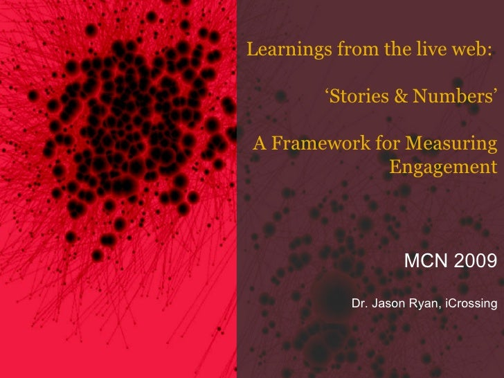 Learnings from the live web:  ' Stories & Numbers' A Framework for Measuring Engagement MCN 2009 Dr. Jason Ryan, iCrossing
