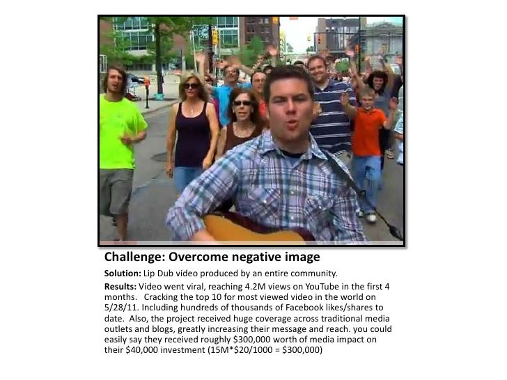 Challenge: Overcome negative imageSolution: Lip Dub video produced by an entire community.Results: Video went viral, reach...