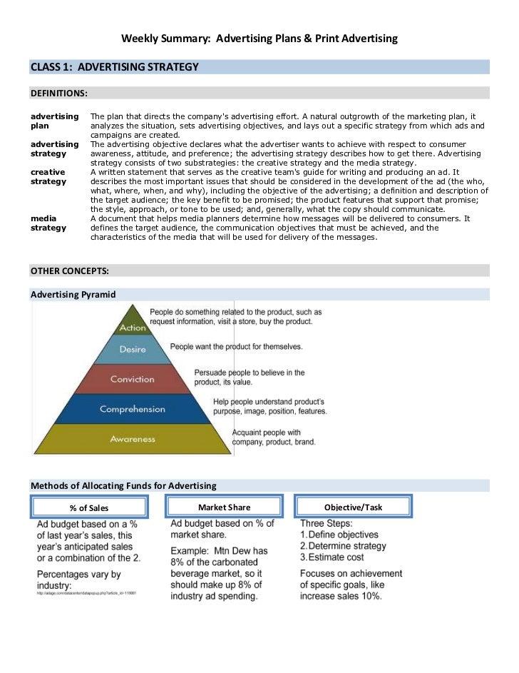 Mcom weekly summary adv plans and print adv
