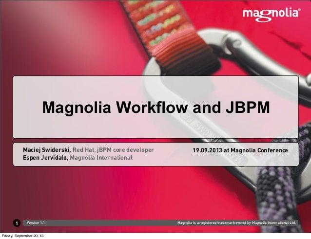 Magnolia is a registered trademark owned by Magnolia International Ltd.Version 1.1 Espen Jervidalo, Magnolia International...