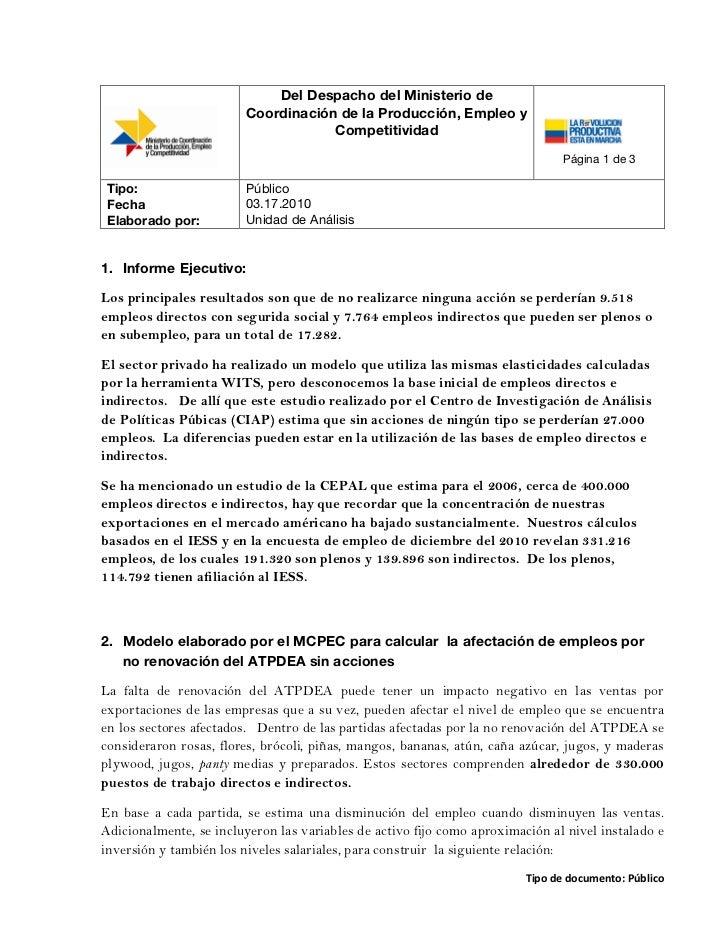 Análisis de impacto de empleo sin renovación de ATPDEA y medidas alternativas  04 17 2011