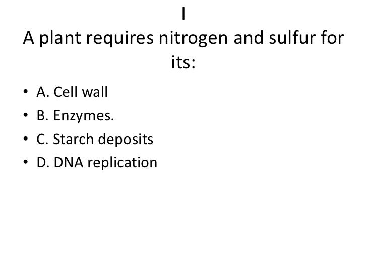 IA plant requires nitrogen and sulfur for                  its:•   A. Cell wall•   B. Enzymes.•   C. Starch deposits•   D....