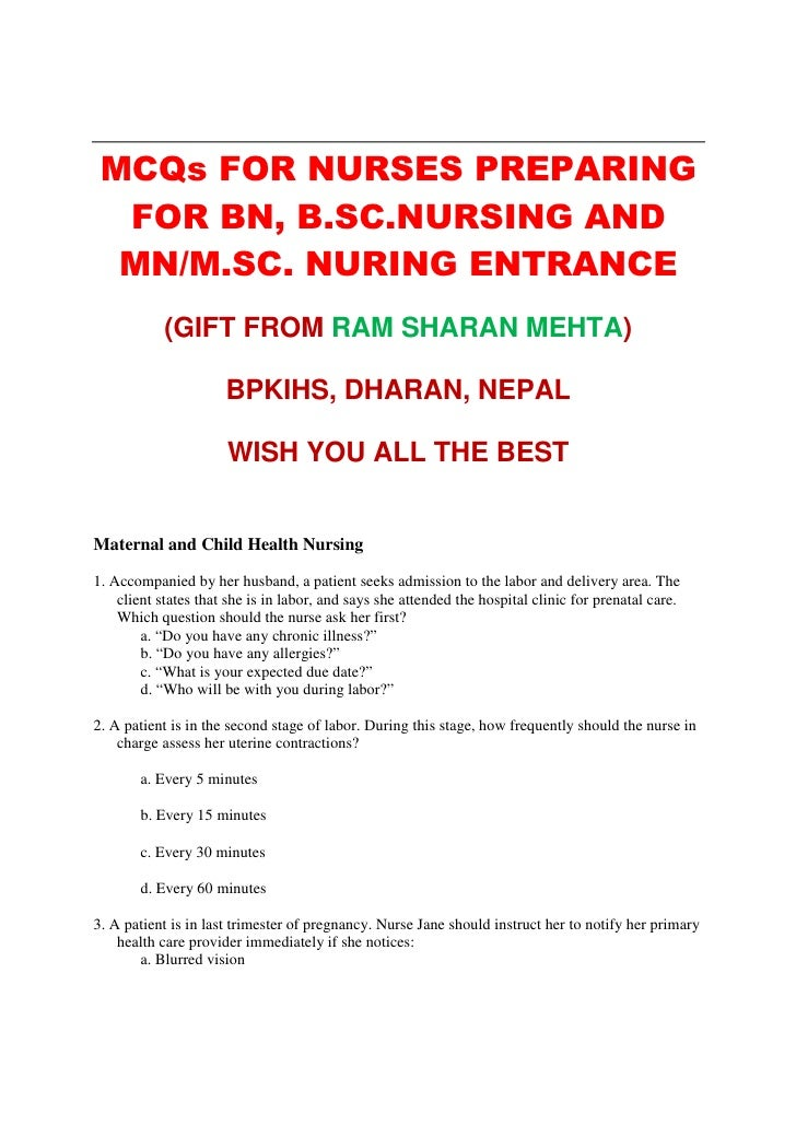 MCQs for Entrance Test for BN, MN, MSN Nursing by RS MEHTA