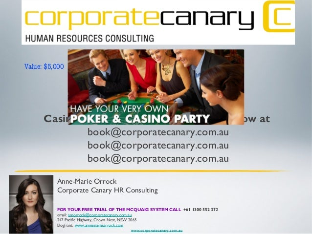 Would you like to win a private Casino party for your company?...ask how at book@corporatecanary.com.au book@corporatecana...