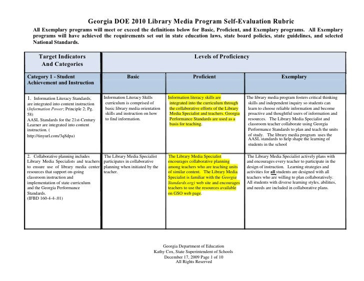 Georgia DOE 2010 Library Media Program Self-Evaluation Rubric    All Exemplary programs will meet or exceed the definition...