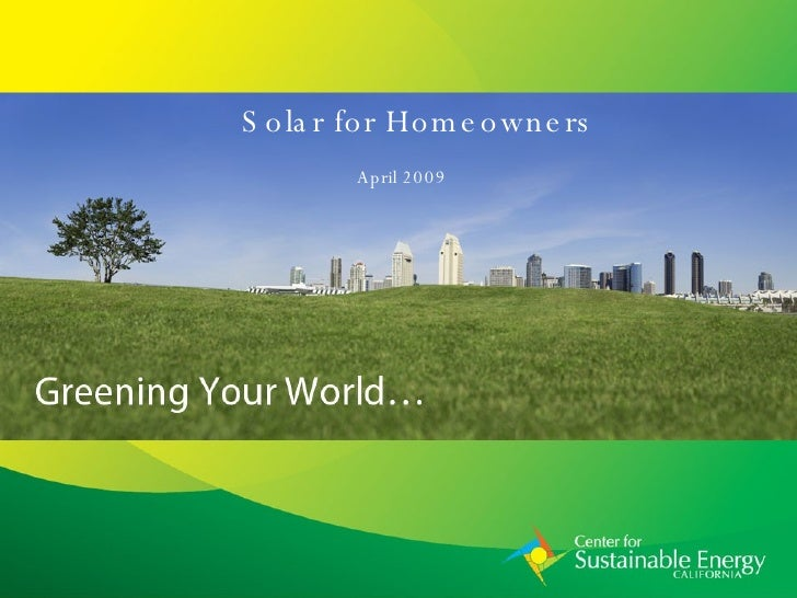 Solar for Homeowners April 2009