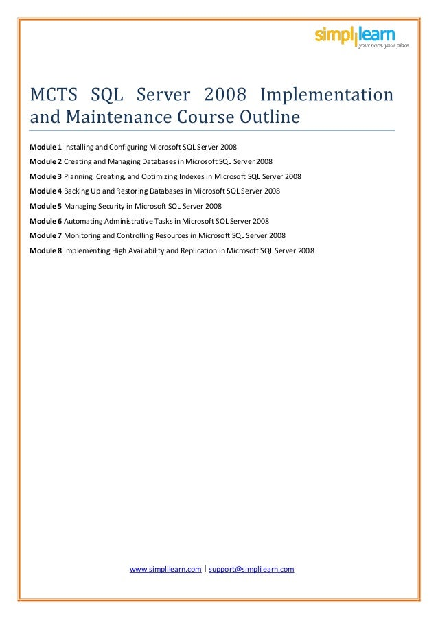 Online MCTS SQL Server Learning Material