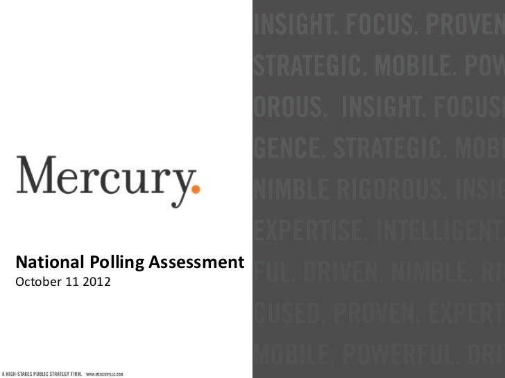 National Polling AssessmentOctober 11 2012