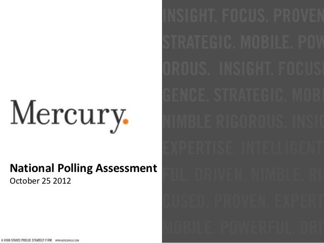 National Polling AssessmentOctober 25 2012
