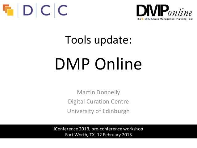DMP Online: update 2013