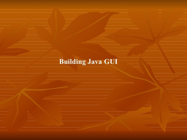 Building Java GUI