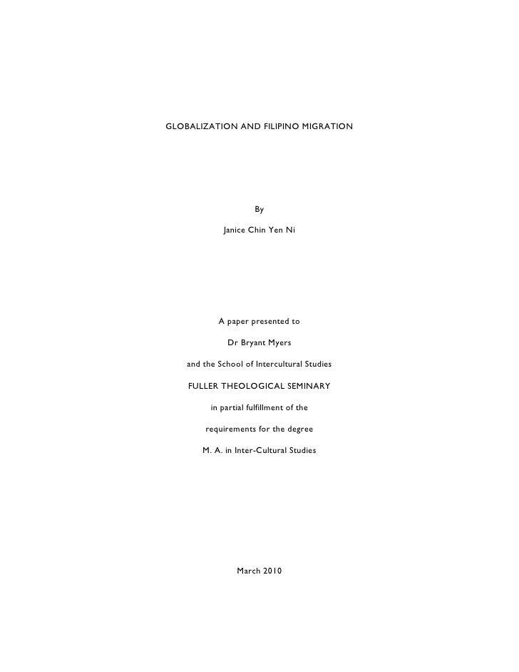 Globalization and Filipino Migration