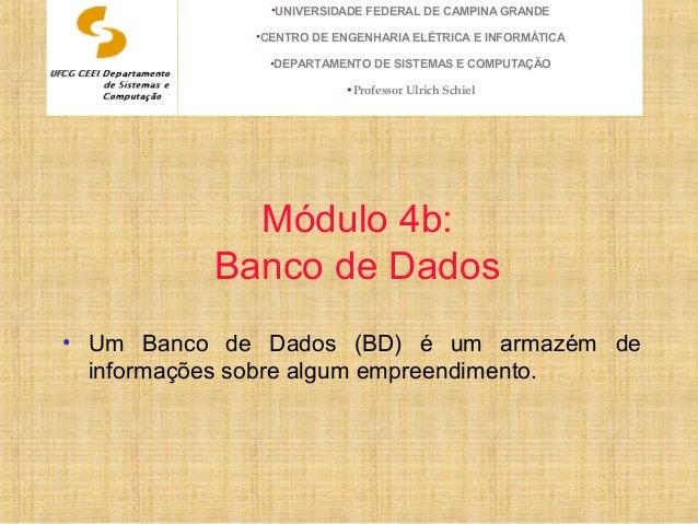 Módulo 4b: Banco de Dados • Um Banco de Dados (BD) é um armazém de informações sobre algum empreendimento. •UNIVERSIDADE F...