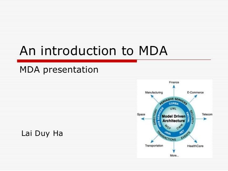 An introduction to MDAMDA presentationLai Duy Ha