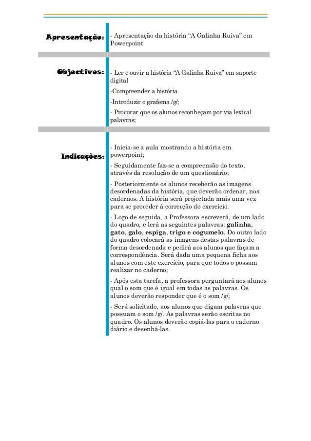 """Apresentação: - Apresentação da história """"A Galinha Ruiva"""" em Powerpoint  Objectivos: - Ler e ouvir a história """"A Galinha ..."""
