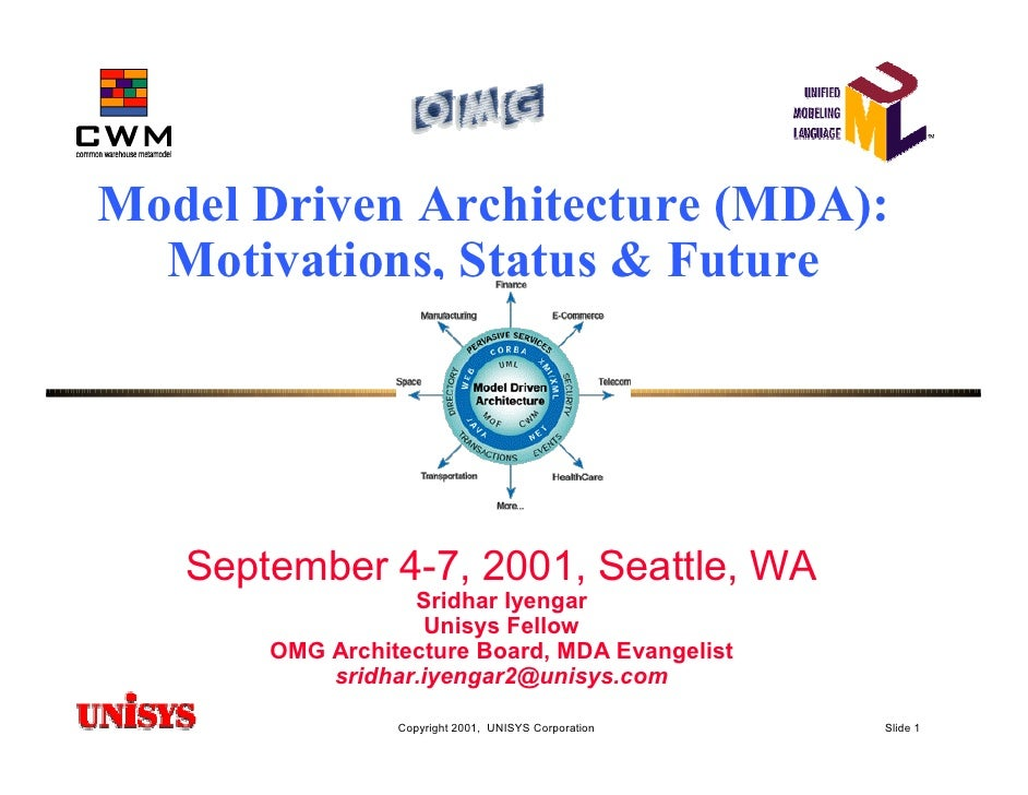Model Driven Architecture (MDA):   Motivations, Status & Future        September 4-7, 2001, Seattle, WA                   ...