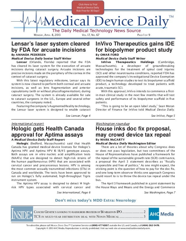 Medical Device Daily - April 8, 2013