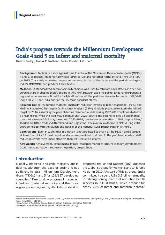 WHO South-East Asia Journal of Public Health 2012;1(3):279-289 279Original researchIndia's progress towards the Millennium...
